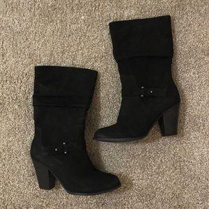 Aldo Mid Calf Slouchy Nubuck Fashion Boots